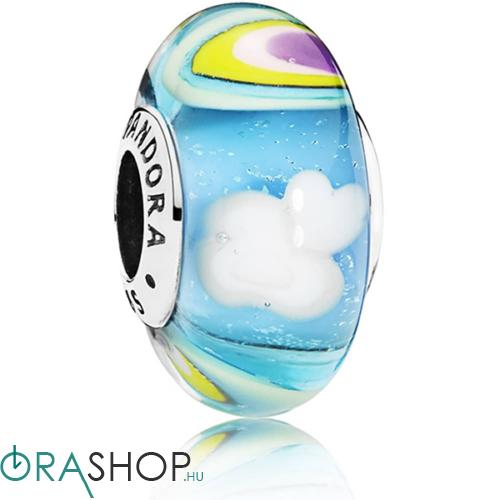 Pandora szívárvány és felhők muránói üveg charm - 797013